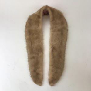 Vintage Mink Fur Collar Light Brown